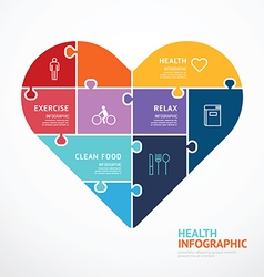 infographic Template with heart shape jigsaw vector image vector image