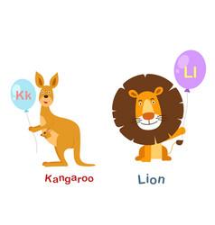 isolated alphabet letter k-kangarool-lion vector image vector image