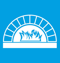 pizza oven with fire icon white vector image vector image