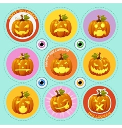 Set of nine icons pumpkin with different face vector image vector image