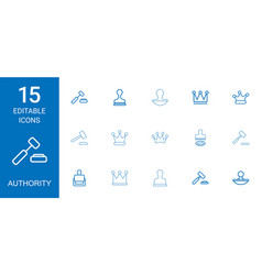 15 authority icons vector image