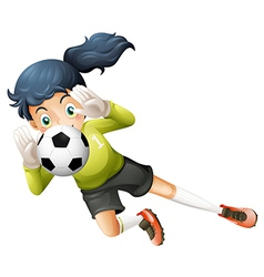 A girl catching the soccer ball vector