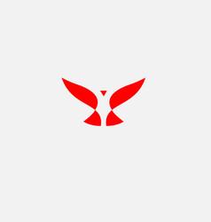 Abstract simple red logo bird icon vector