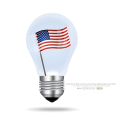 American Flag inside light bulb EPS10 vector image
