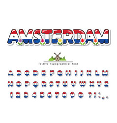 amsterdam cartoon creative font netherlands vector image