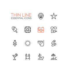 At the beach - line icons set vector