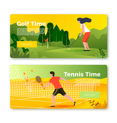 banners set with tennis man and golf girl vector image