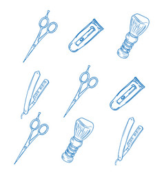 barber and hairdresser icons set vector image