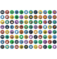 Big set of circle flat design icons Big set of vector