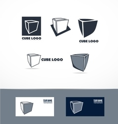 Blue cube logo icon set vector image