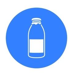 Bottle milk icon black Single bio eco organic vector