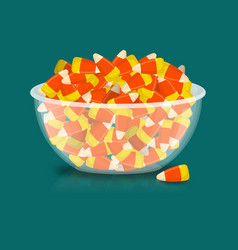 Bowl and candy corn sweets on plate traditional vector