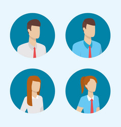 business people characters round icons vector image