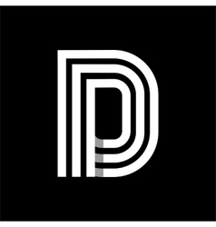 Capital letter D Made of three white stripes vector image