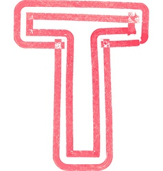 Capital letter T drawing with Red Marker vector image