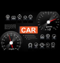 car dashboard elements concept vector image