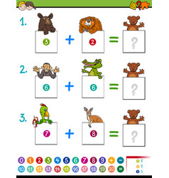 Cartoon addition educational game with animals vector
