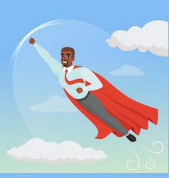 Cartoon afro-american man with superhero cloak vector