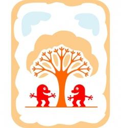 Cartoon devils and tree vector
