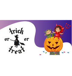 cartoon kids sitting on halloween pumpkin poster vector image