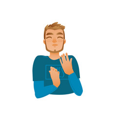 Cartoon young adult man clapping hands vector
