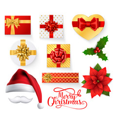 christmas obects with santa hat gift boxes holly vector image