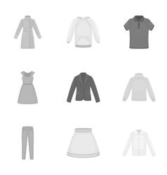 Clothes set icons in monochrome style Big vector