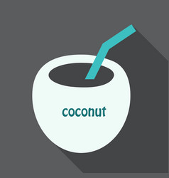 Coconut cocktail icon in cartoon style isolated vector