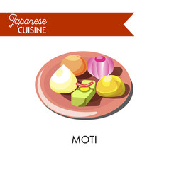 colorful sweet moti on shiny ceramic plate vector image