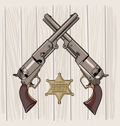 colt model 1848 dragoon two revolvers vector image