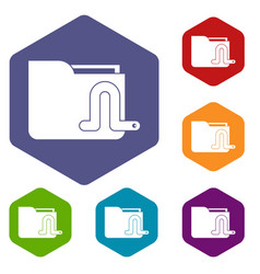 computer worm icons set vector image
