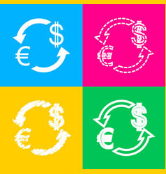 currency exchange sign euro and dollar four vector image