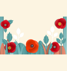 Cut paper floral banner with poppies vector