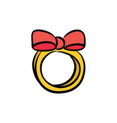 Cute bow ring vector image