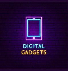 digital gadgets neon label vector image