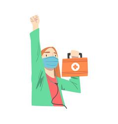 doctor superhero wearing medical mask standing vector image