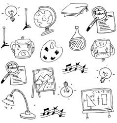 Education doodles element collection stock vector