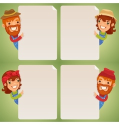 Farmers Cartoon Characters Looking at Blank Poster vector