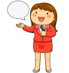 Female tv reporter vector