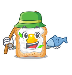 Fishing sandwich with egg above character board vector