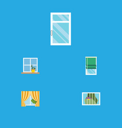 Flat icon glass set of clean balcony glass frame vector