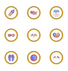 fourth of july day icons set cartoon style vector image