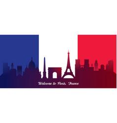 france flag with landmarks skyline background vector image