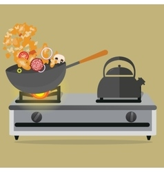 Frying pan cooking stirred vegetable and meat on vector