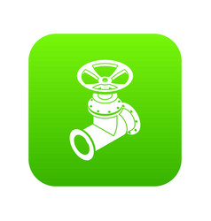 Gas pipe icon green vector