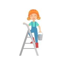 Girl Going Up The Ladder With The Bucket Kid vector