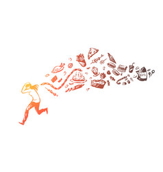 Girl running away from fast food vector