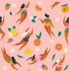 Girls in swimsuits diving and swimming in vector