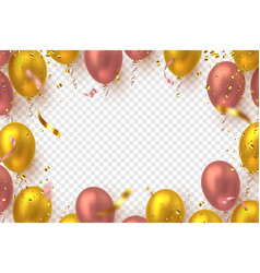 glossy balloons with confetti vector image