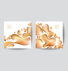 gold organic shapes poster template vector image